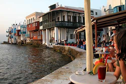 Mykonos, islas Cicladas, puerto, restaurante